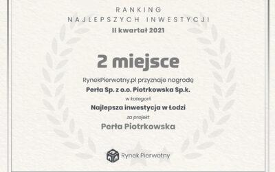 2 miejsce w kategorii najlepsza inwestycja w Łodzi